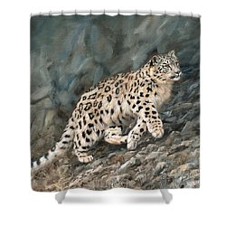 Shower Curtain featuring the painting Snow Leopard by David Stribbling