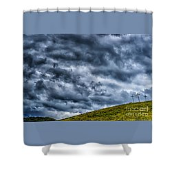 Three Crosses On Hill Shower Curtain by Thomas R Fletcher
