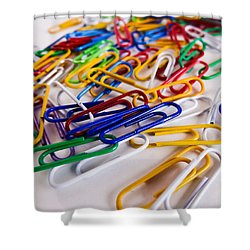 100 Paperclips Shower Curtain by Julia Wilcox