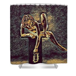 1003s-zac Necklace Of Bones Held By Beautiful Nude Dancer Shower Curtain