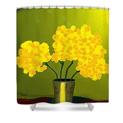1015 - Yellow Flowers .a.. Shower Curtain