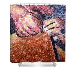 101615 Pastel Craftsman Hands Shower Curtain by Garland Oldham