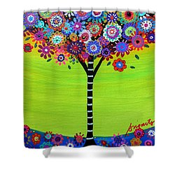 Tree Of Life Shower Curtain by Pristine Cartera Turkus