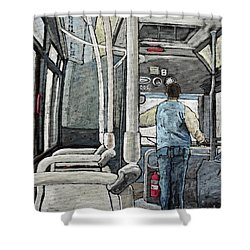 107 Bus On A Rainy Day Shower Curtain by Reb Frost