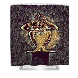 1083s-zac Dancer Squatting On Pedestal With Amulet Nudes In The Style Of Antonio Bravo  Shower Curtain