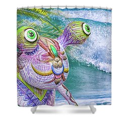 10859 Aliens In Paradise Shower Curtain by Pamela Williams