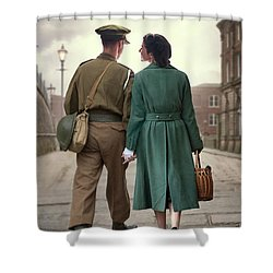 1940s Couple Shower Curtain by Lee Avison