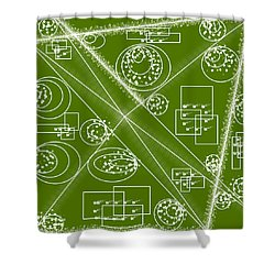 Mechanical- Green  Shower Curtain