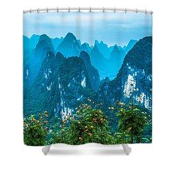 Karst Mountains Landscape Shower Curtain