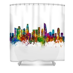 Los Angeles California Skyline Shower Curtain by Michael Tompsett