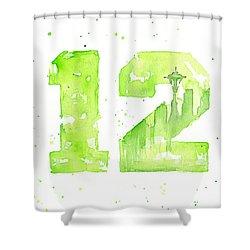 12th Man Seahawks Art Go Hawks Shower Curtain