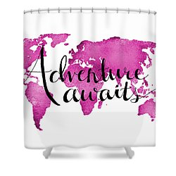 12x16 Adventure Awaits Pink Map Shower Curtain by Michelle Eshleman