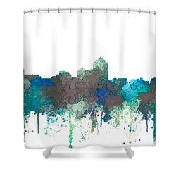 Shower Curtain featuring the digital art Albuquerque New Mexico Skyline by Marlene Watson