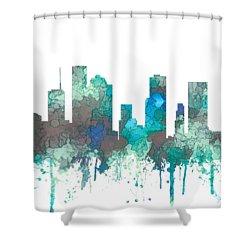 Shower Curtain featuring the digital art Houston Texas Skyline by Marlene Watson