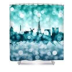 Paris France Skyline Shower Curtain by Michael Tompsett