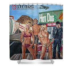 Shower Curtain featuring the painting 13 Stories by Bryan Bustard