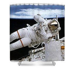 Astronaut Participates Shower Curtain by Stocktrek Images