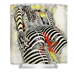 1457s-ak Rear View Nude Erotica In The Style Of Kandinsky Shower Curtain