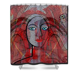 1459 Cubic Lady Face Shower Curtain
