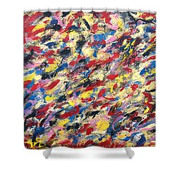 14k Gold Abstract Painting 48x60 Print Shower Curtain