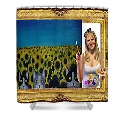 Shower Curtain featuring the digital art Cover Art For Gallery by Diana Riukas
