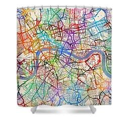 London England Street Map Shower Curtain