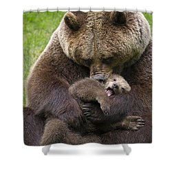 Mother Bear Cuddling Cub Shower Curtain