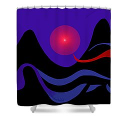 1536 - Red Mountain Sun -  2017 Shower Curtain by Irmgard Schoendorf Welch
