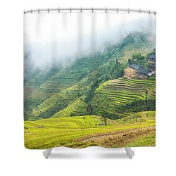 Terrace Fields Scenery In Autumn Shower Curtain