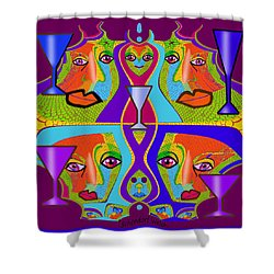 Shower Curtain featuring the digital art 1688 - Funny Faces 2017 by Irmgard Schoendorf Welch