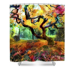 Abstract Japanese Maple Tree Shower Curtain