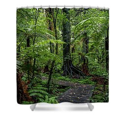 Shower Curtain featuring the photograph Forest Boardwalk by Les Cunliffe