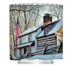 1700's Log House In West Chester, Pa Shower Curtain