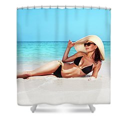Beautiful Woman On The Beach Shower Curtain