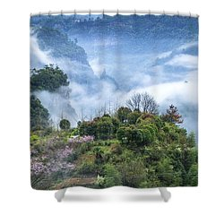 Mountains Scenery In The Mist Shower Curtain