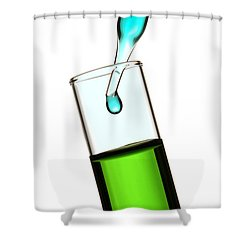 Test Tube In Science Research Lab Shower Curtain by Olivier Le Queinec