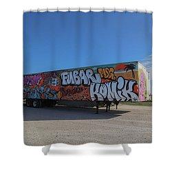 18 Wheeler Art Shower Curtain