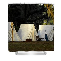 1800s Army Tents Shower Curtain by David Lee Thompson