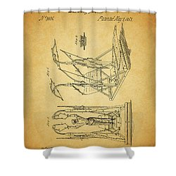 1853 Exercising Machine Patent Shower Curtain by Dan Sproul