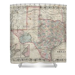 1870 Colton Pocket Map Of Texas Shower Curtain