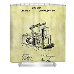 Shower Curtain featuring the mixed media 1870 Mousetrap Patent by Dan Sproul