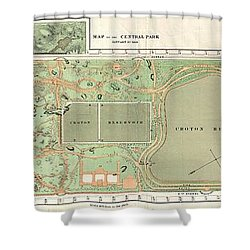 1870 Vaux And Olmstead Map Of Central Park New York City Shower Curtain