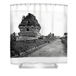 Shower Curtain featuring the photograph 1870 Visiting Roman Ruins Along The Appian Way by Historic Image