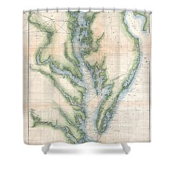 Antique Map Of Chesapeake Bay Shower Curtains Fine Art America - Us map chesapeake bay