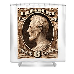 Shower Curtain featuring the painting 1875 Abraham Lincoln Treasury Department Stamp by Historic Image