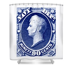 Shower Curtain featuring the painting 1875 Commodore Perry Us Navy Department Stamp by Historic Image