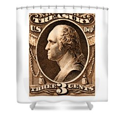 Shower Curtain featuring the painting 1875 George Washington Treasury Department Stamp by Historic Image