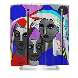 Shower Curtain featuring the digital art 1875 - To Walk Tall by Irmgard Schoendorf Welch