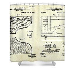 1880 Steinway Piano Forte Patent Art Sheets V2 Shower Curtain by Gary Bodnar