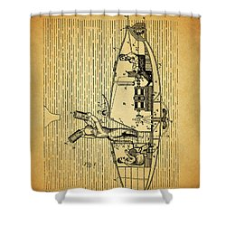1884 Submarine Ship Patent Shower Curtain by Dan Sproul